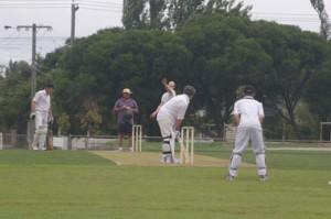 P. Flynn, backbone of the innings, faces T. Wilson