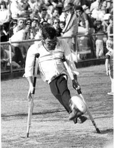Bernard Whimpress - footballer on crutches