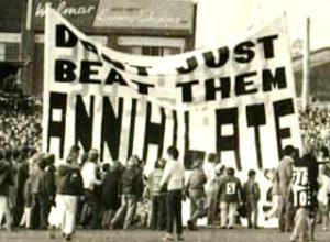 Collingwood's banner versus Essendon, Victoria Park 1972