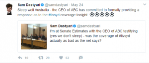 Sam Dastyari's tweets assuring followers that the ABC will address its coverage of the Sydney v Liverpool friendly on May 24