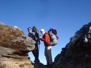 Bijay Louise and Shanaia trekking Lamajura Pass in the Everest region, nine days prior to the Tashi Lapsa Pass incident.