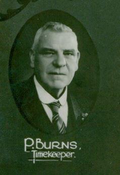 Peter Burns timekeeper 1937