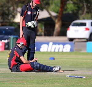 Phil Neate slumps to the ground after his gallant batting effort