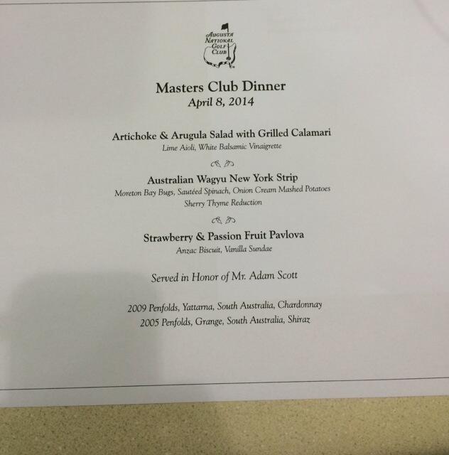 US Masters 2014 dinner menu