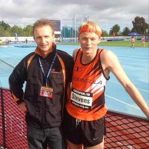 Me and the coach before my Zatopek race at Lakeside Stadium.